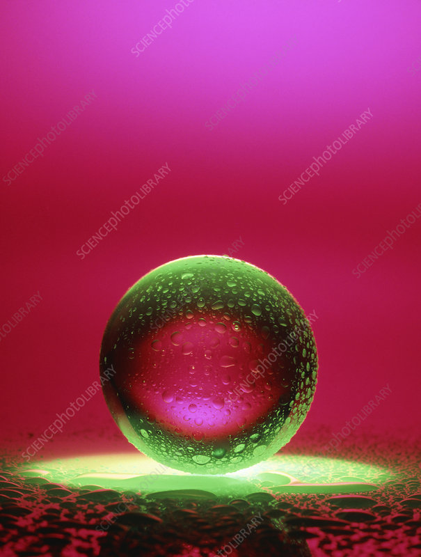 Water droplets from a crystal ball