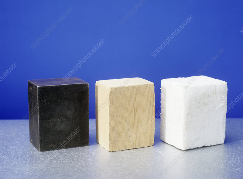 Equal volumes of different materials
