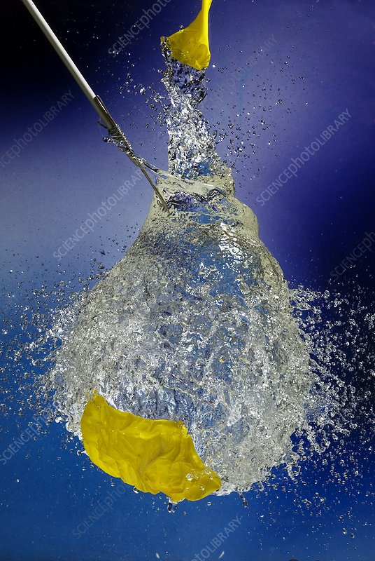 Water balloon bursting, high-speed image