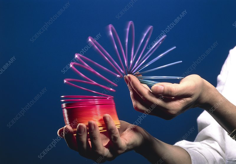 Slinky spring toy being held in hands
