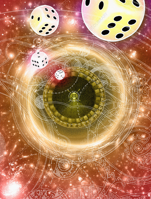 Art of dice, a black hole and chance