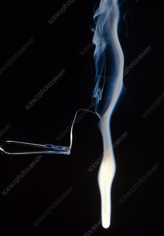 Burning piece of magnesium ribbon