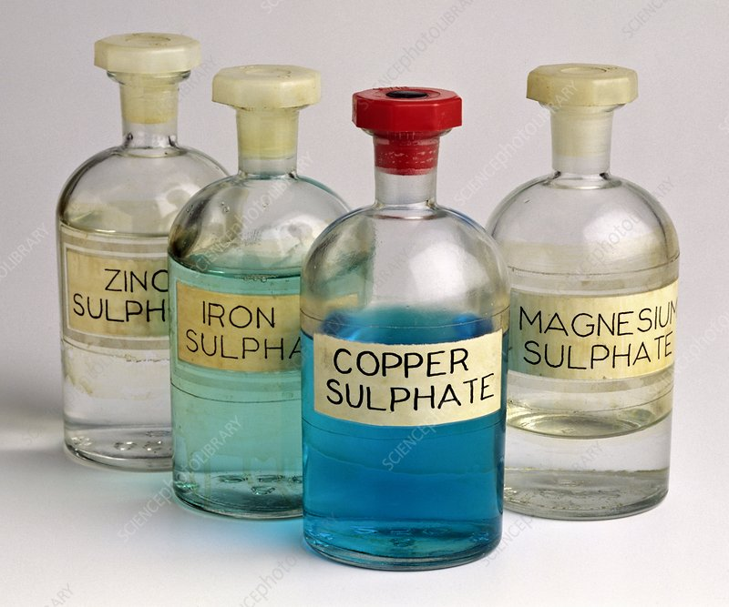 Four bottles of sulphate solutions