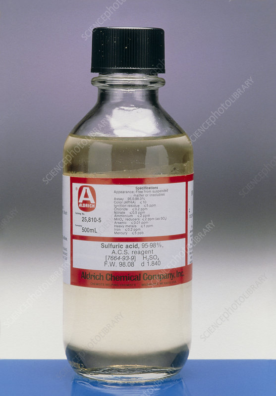 View of a bottle of sulphuric acid