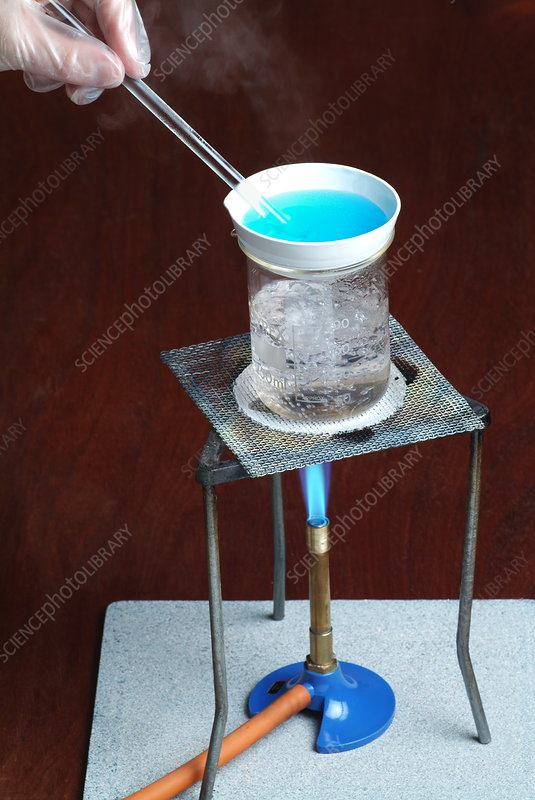 Heating copper sulphate solution