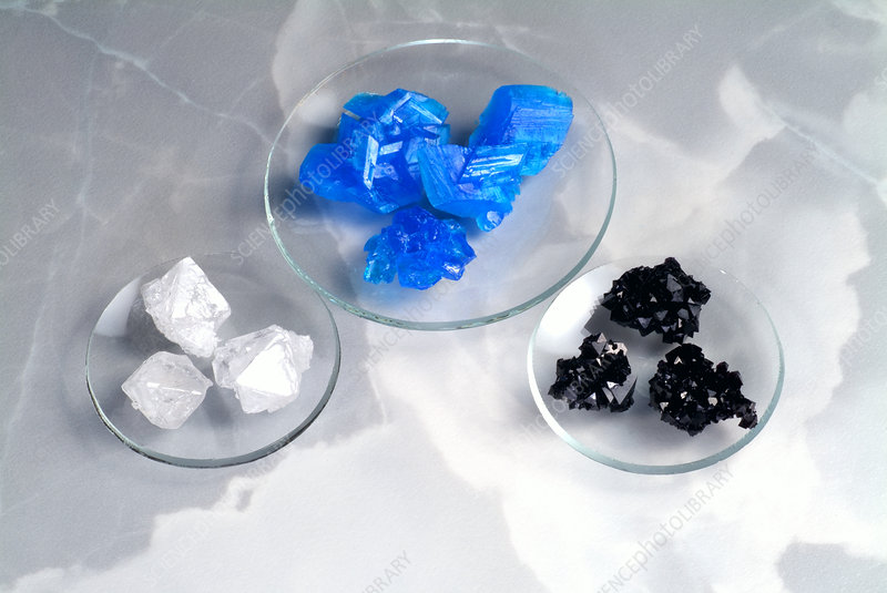 Copper sulphate and alum crystals