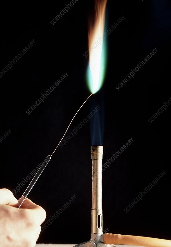 Copper metal flame test