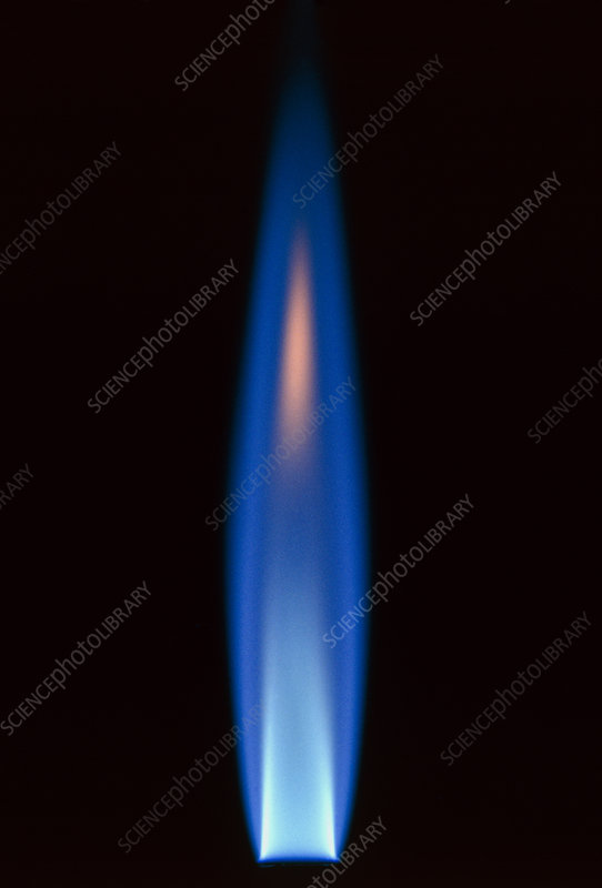Propane gas flame from bunsen burner