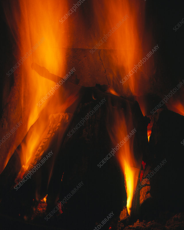 Flames from log fire