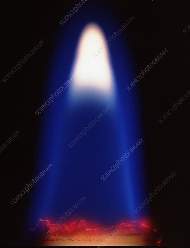 Close-up of a flame from a sheet of paper