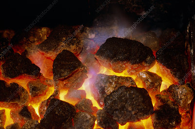Glowing coals of a domestic fire