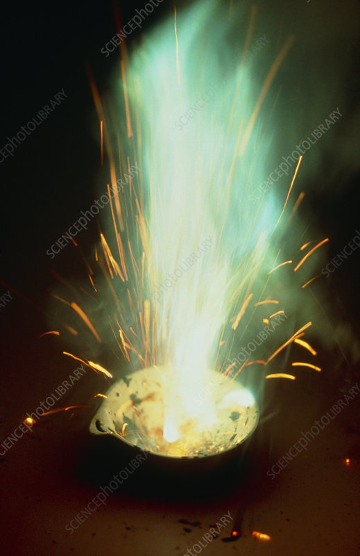 Explosive combustion of ammonium nitrate