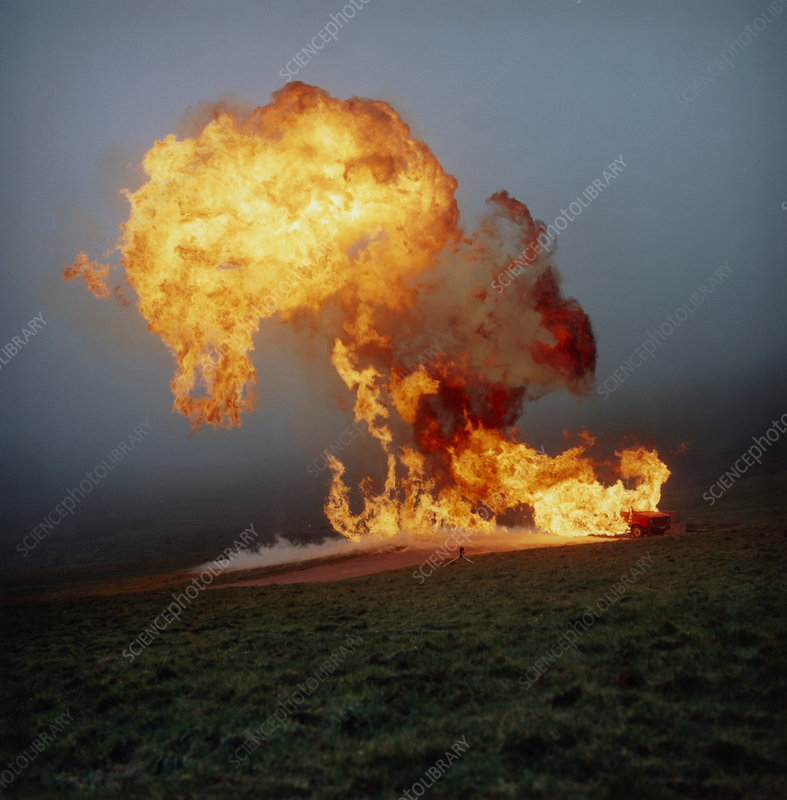 Fireball from liquid petroleum gas explosion