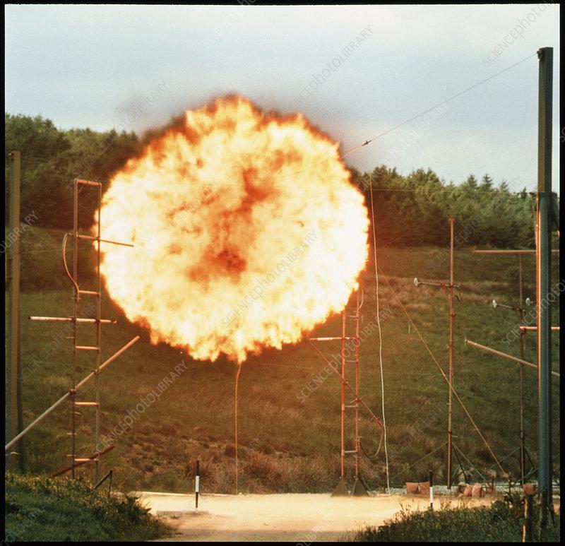 Fireball from mining explosive