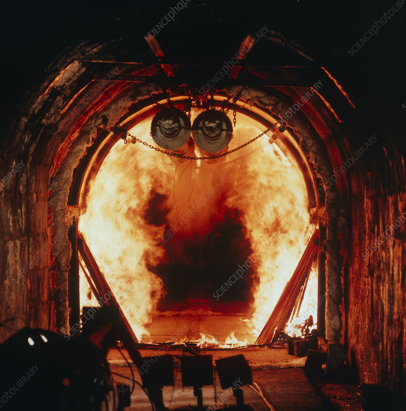 Flames during fire test of tunnel lining