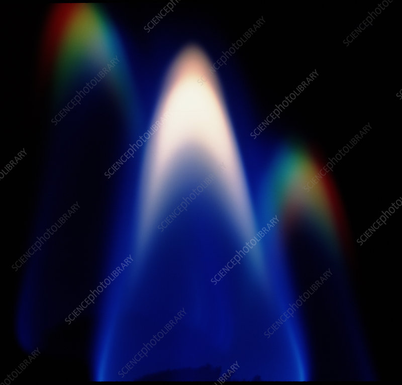 Gas flame and two light spectra