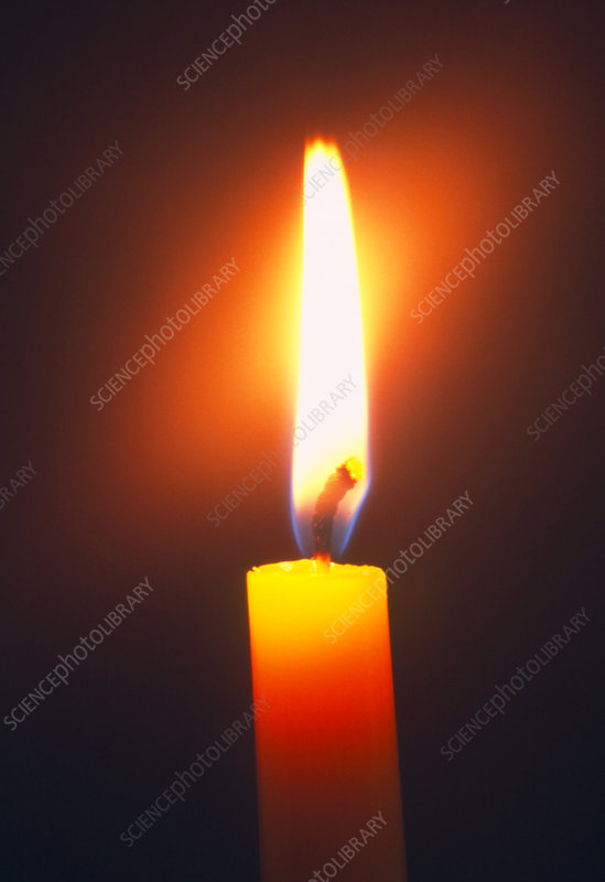 View of the flame of a burning candle