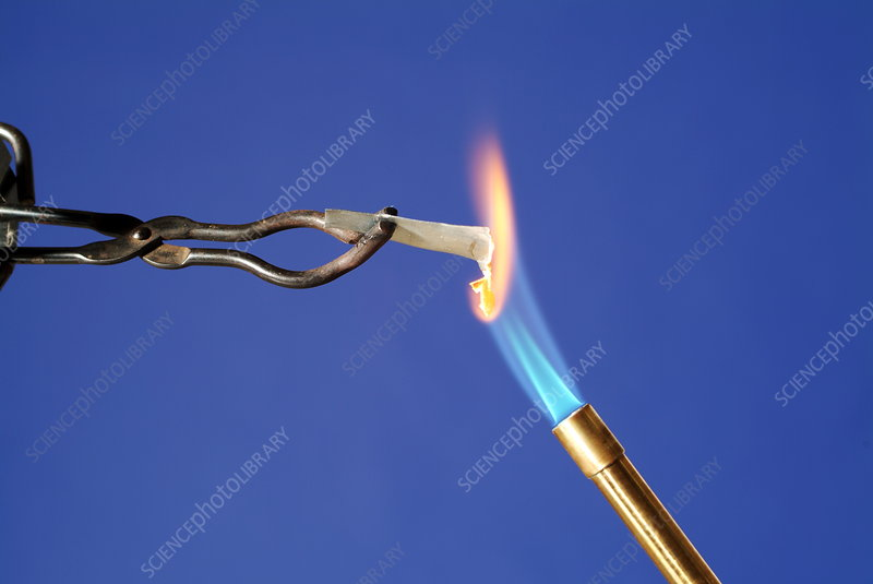 Heating zinc in a flame