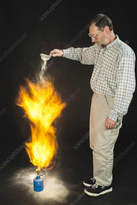 Milk powder dropped on a flame