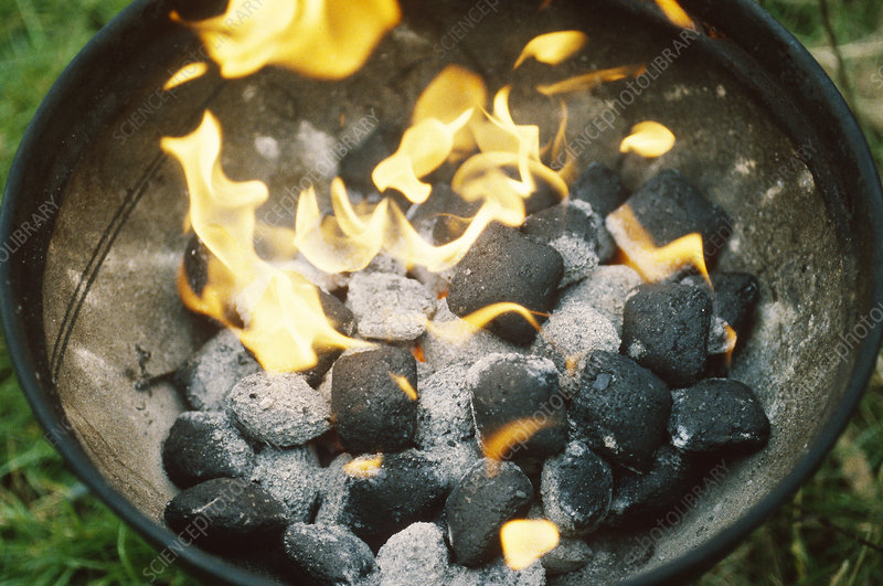 Charcoal Bricketts Burning