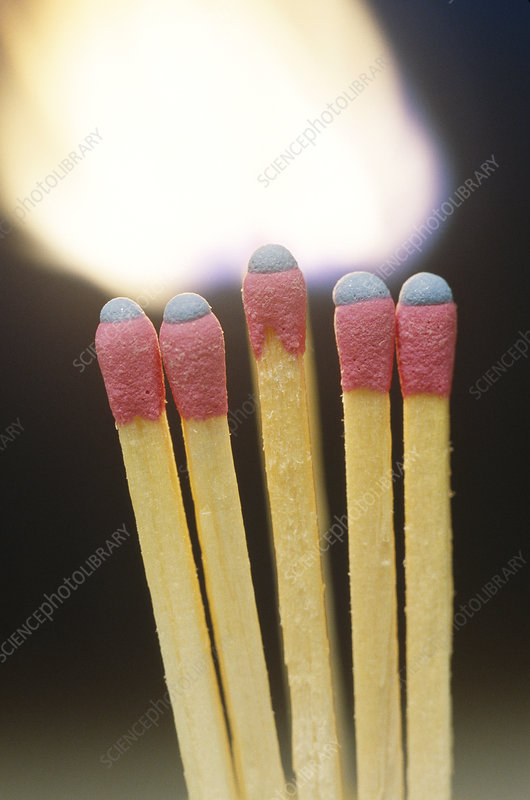 Wooden matches burning