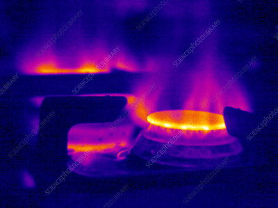 Lit gas ring, thermogram