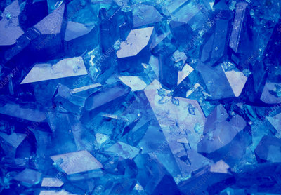 Macrophoto of copper sulphate crystals