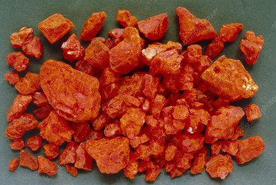 Potassium dichromate crystals