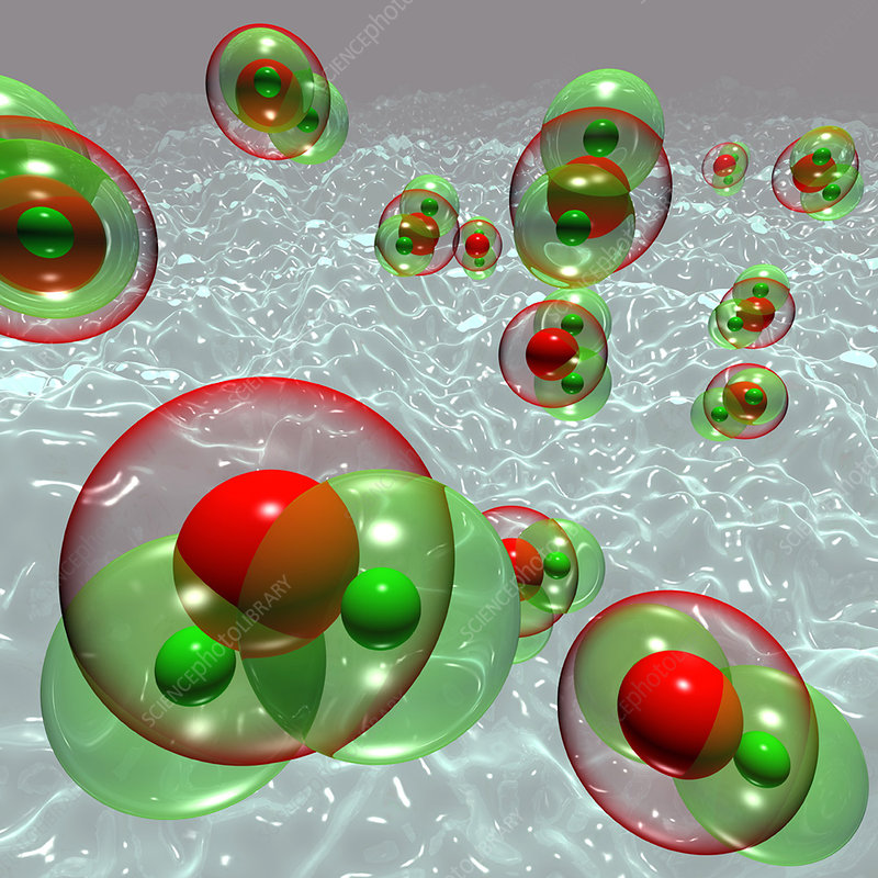Water molecules in steam