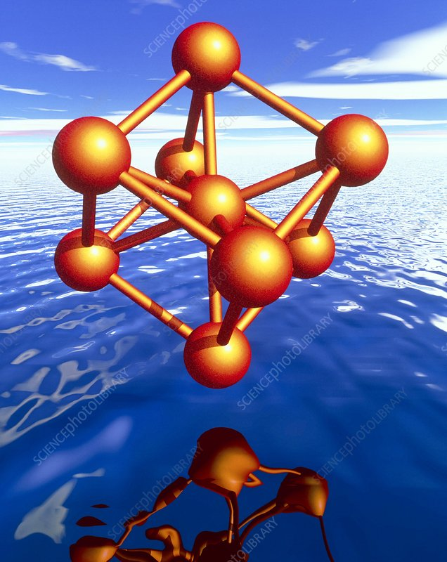 Iron molecule over water