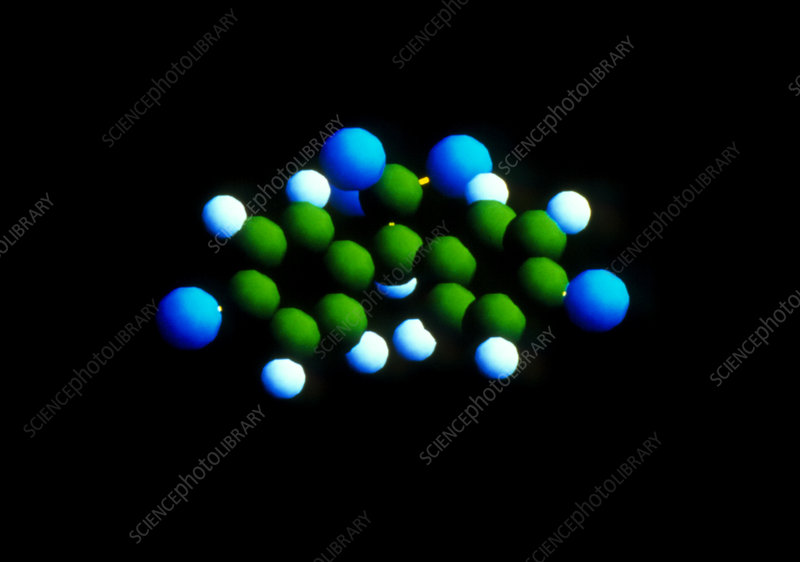 Computer graphic of a molecule of DDT