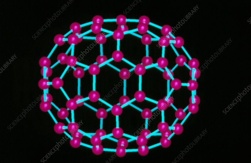 Computer graphics image of C70 fullerene