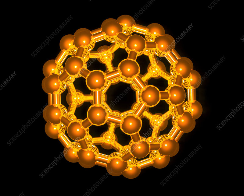 Computer graphic of a buckyball (C60)
