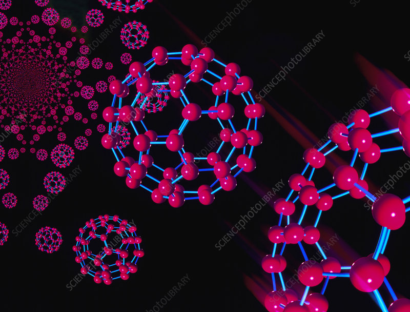 Computer graphic of buckyballs (C60)