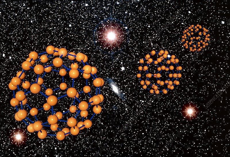 Buckyball (C60) molecules in space