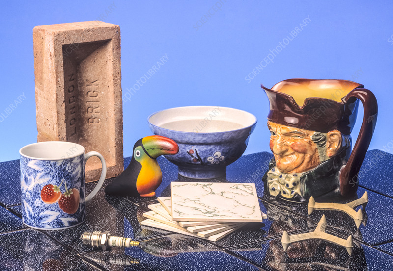 Assortment of familiar ceramic objects