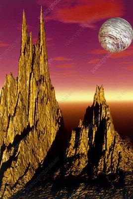 High Peaks 3-D fractal landscape image