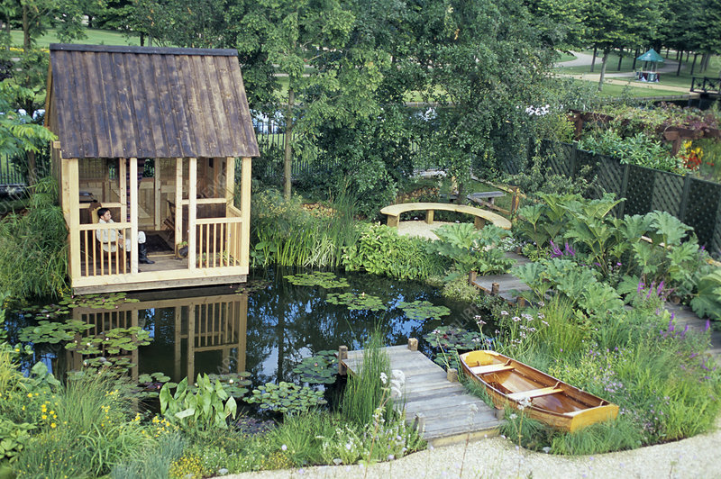 Summerhouse by a water garden