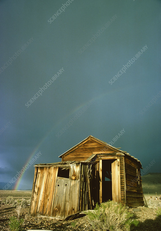 Rainbow over shack