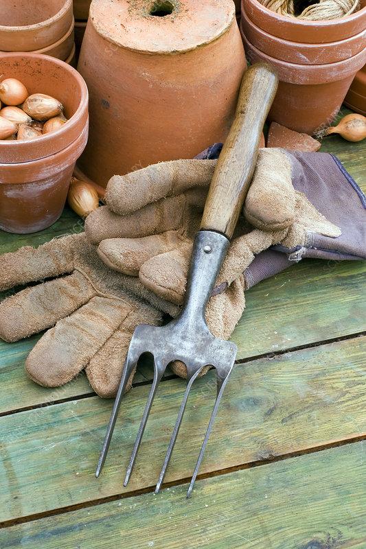 Hand fork and gardening gloves
