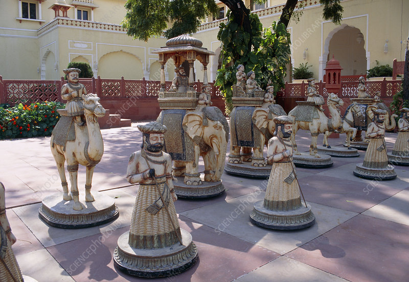 Garden chess pieces, India