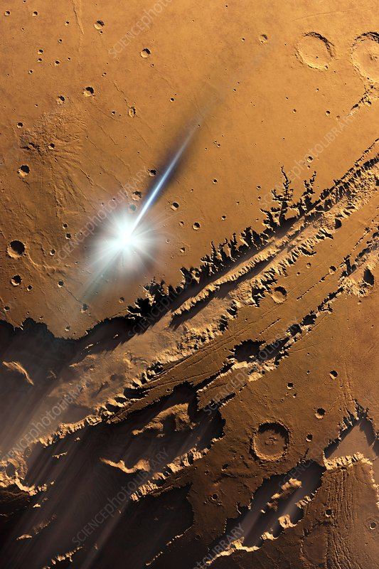 Asteroid impact on Mars, artwork