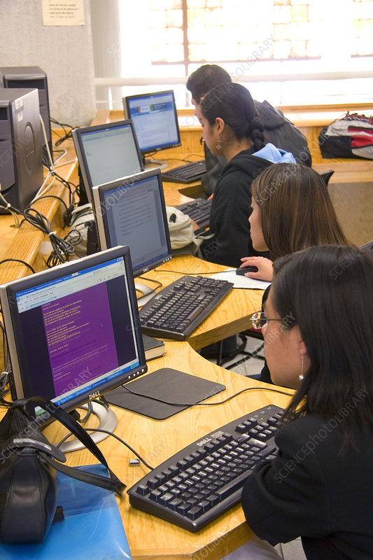 Students do research on Computers