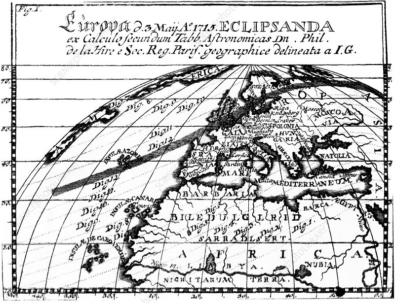 1715 solar eclipse, historical map