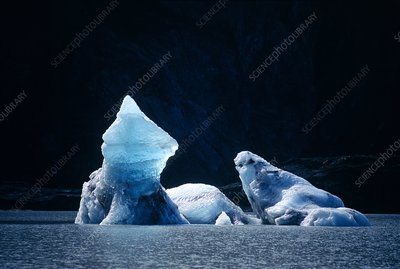 Icebergs in Lowell lake, Canada