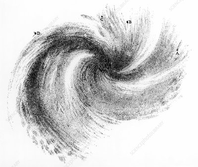 Spiral galaxy M99, 1850 artwork