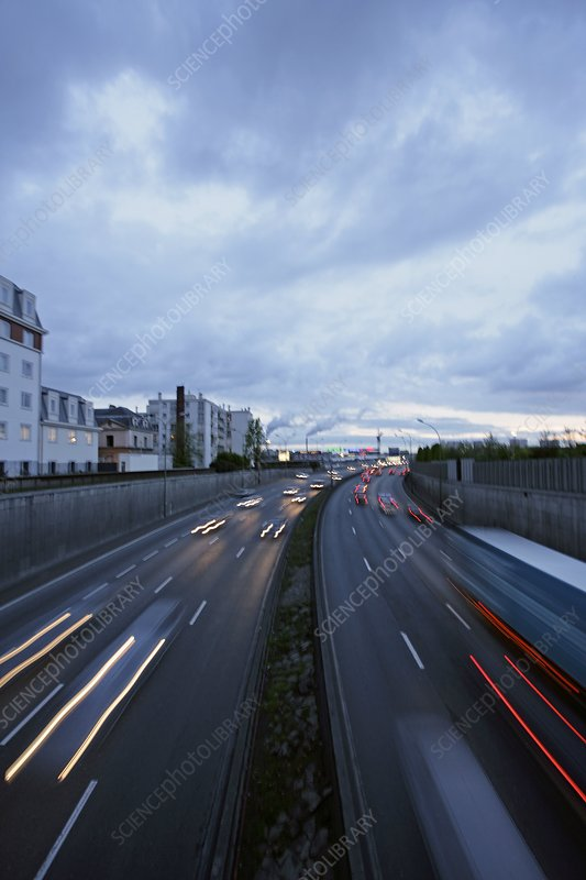 Motorway at dusk, Paris