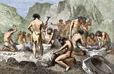 Early humans working flint