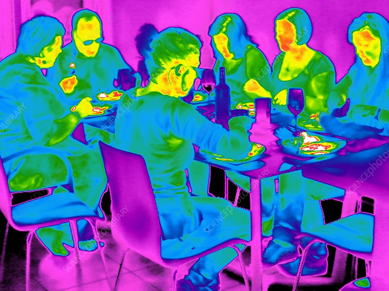 People sitting at a table, thermogram