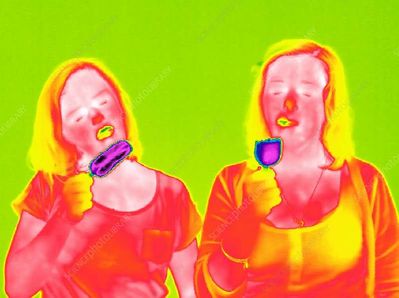Women eating ice lollies, thermogram